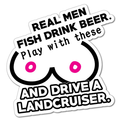 MEN FISH BEER for Landcruiser Sticker