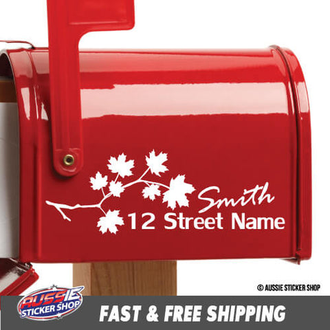 Custom Address & Surname Leaves Mailbox Sticker
