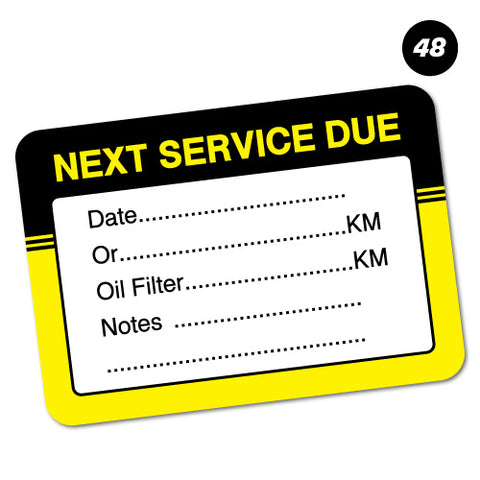 48 X Next Service Due Stickers