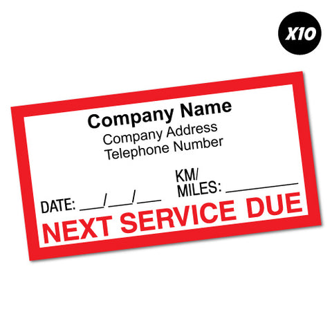 10X Custom Text Company Next Service Due Sticker