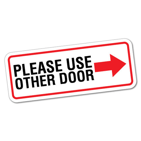 Please Use Other Door Right Sign Shops Sticker