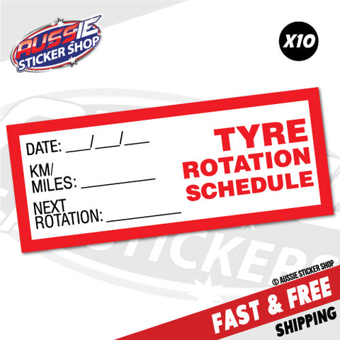 10X Tyre Tire Rotation Schedule Service Due Sticker