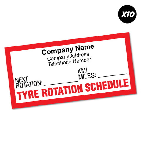 10X Custom Company Tyre Tire Rotation Due Sticker