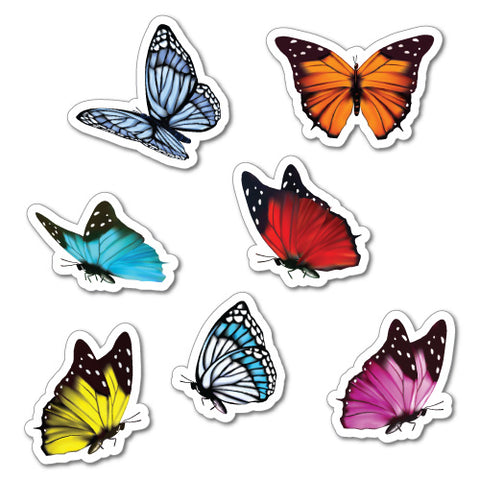 7 X Colourful Butterfly Sticker Laptop