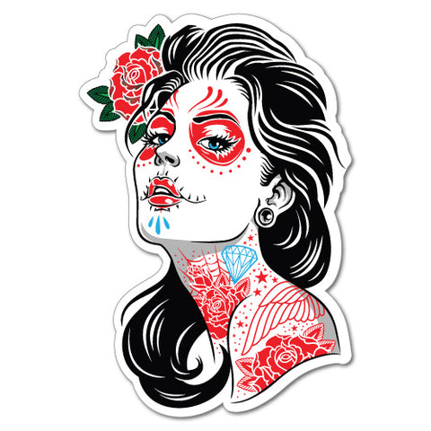 Sugar Skull Tattoo Lady Girl Sticker