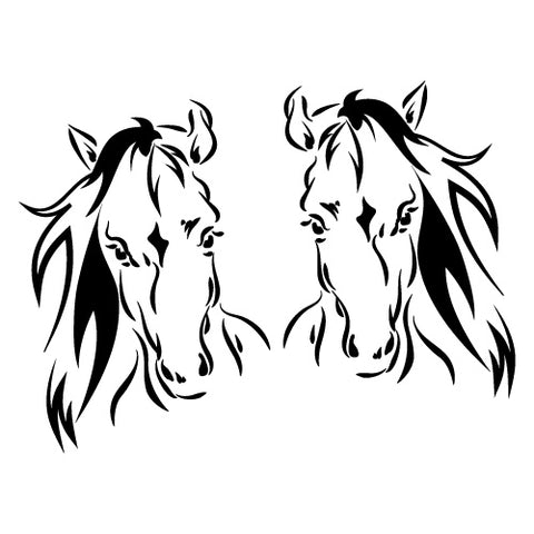 2X Horse Heads Float Trailer Sticker