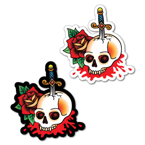 1 X Pair Dagger Skull Black White Tattoo Sticker