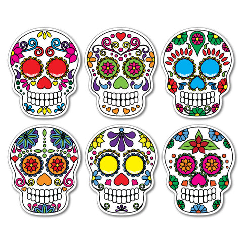 6X Sugar Skull Colourful Sticker
