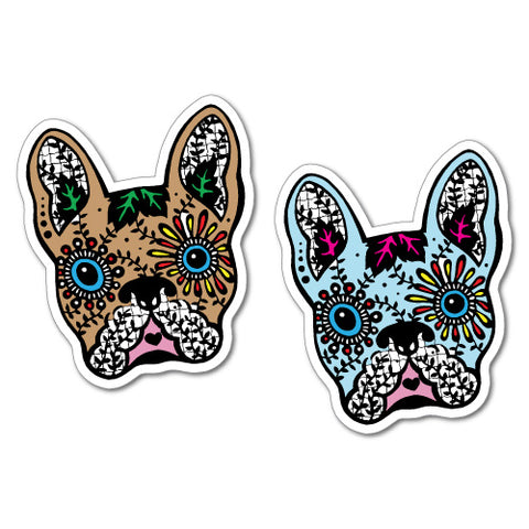 2 x French Bullldog Day Of The Dead Sticker