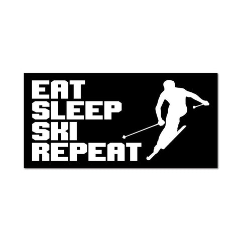Eat Sleep Ski Repeat  Sticker Decal