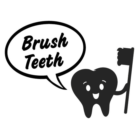 BRUSH TEETH KIDS SCHOOL STICKER