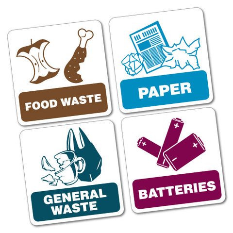 4X Bin Signs Food Paper General Batteries Sticker