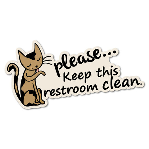 Keep This Restroom Clean Cat Sticker