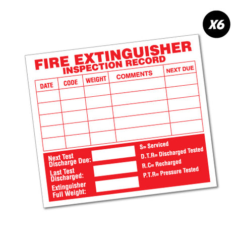 6X Fire Extinguisher Inspection Record Service Sticker