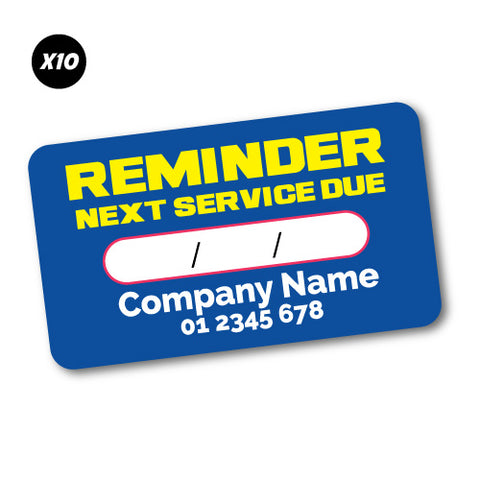 10X Custom Reminder Next Service Due Sticker