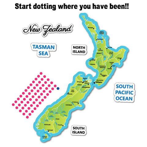 New Zealand Travel Map Green Sticker