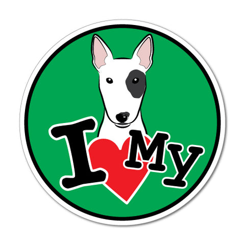 I Love My Bull Terrier Sticker