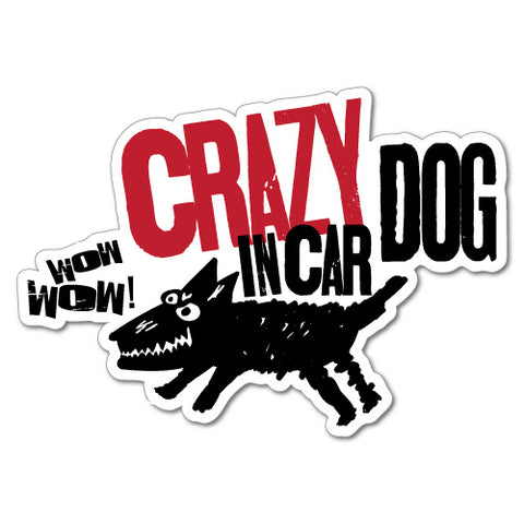 Crazy Dog In Car Sticker