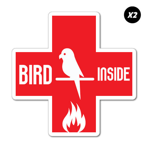 2x Bird Inside Fire Emergency Sticker