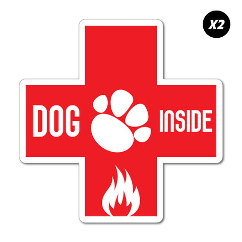 2X Dog Inside Fire Emergency Sticker