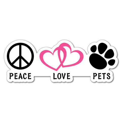 Peace Love Pets Sticker