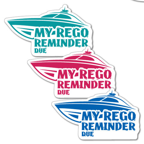 My Rego Reminder Boat Sticker