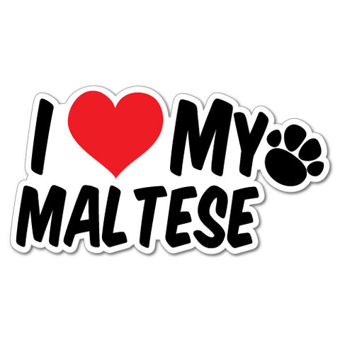 I Heart My Maltese Sticker