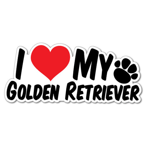 I Heart My Golden Retriever Sticker