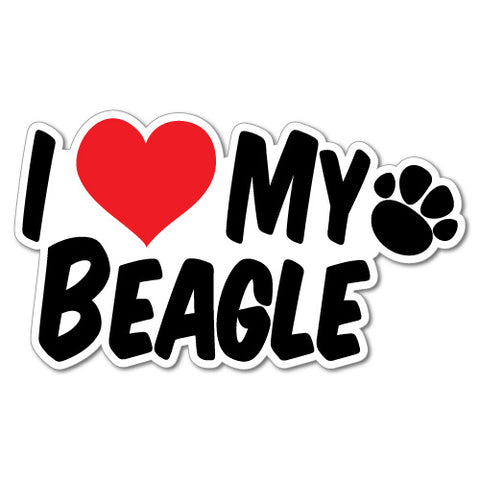 I Heart My Beagle Sticker