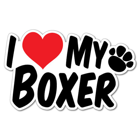 I Heart My Boxer Sticker