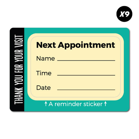 9x Next Appointment Service Reminder Sticker