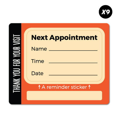 9X Red Next Appointment With Note Service Reminder Sticker