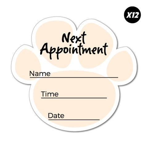 12x Next Appointment Pet Paw Service Reminder Sticker