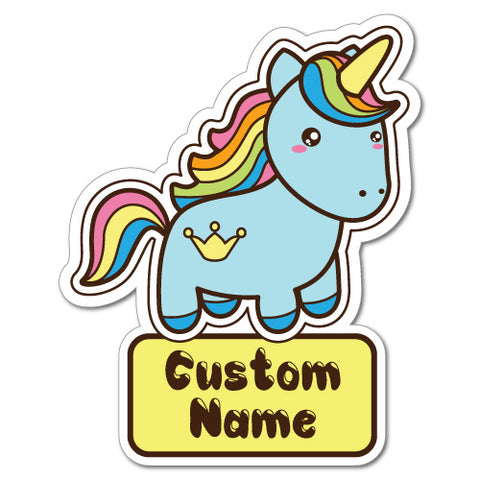 Custom Kid'S Name Unicorn Blue Sticker