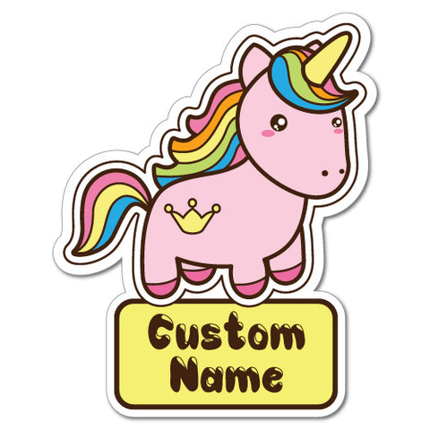 Custom Kid's Name Unicorn Pink Sticker