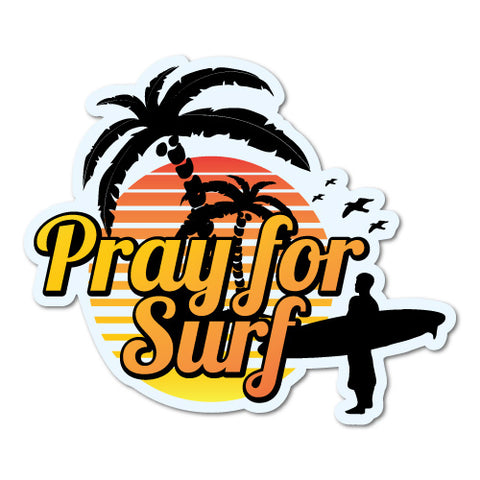 Pray For Surf Sunset Surfing Sticker
