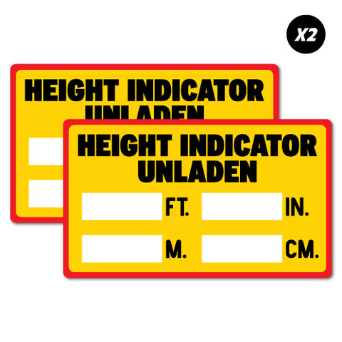 2 X Height Indicator Unladen Hgv Commercial Vehicle Cav Sticker