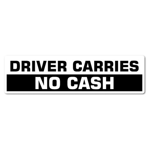 Driver Carries No Cash Sticker For Uber Taxi Car