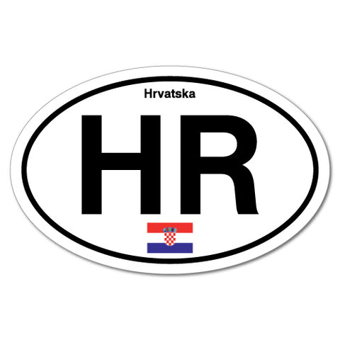 Hr Croatia Croatian Country Code Hrvatska Oval Sticker