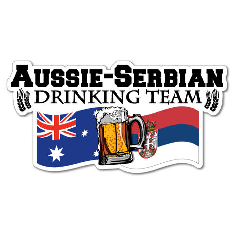 Aussie Serbian Drinking Team Flag Beer Sticker