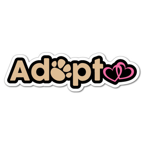 Adopt Pets Love Heart Paw Car Laptop Sticker