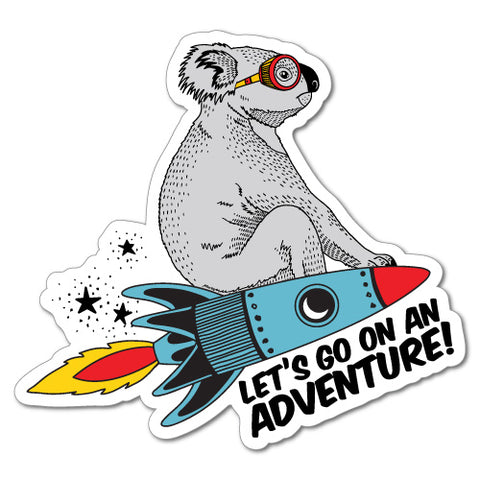 Flying Rocket Koala Adventure Funny Sticker
