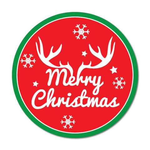 Merry Christmas Horn Xmas Gift Present Label Stickers