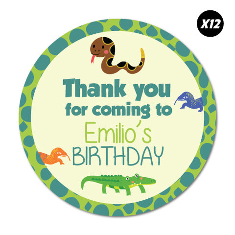 12X Custom Name Birthday Thank You Lizard Reptile Sticker