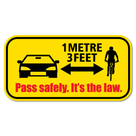 Pass Safely Cyclist Bicycle Car Distance Driving Sticker