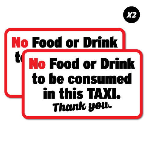 2x No Food Or Drink In This Taxi Uber Sticker