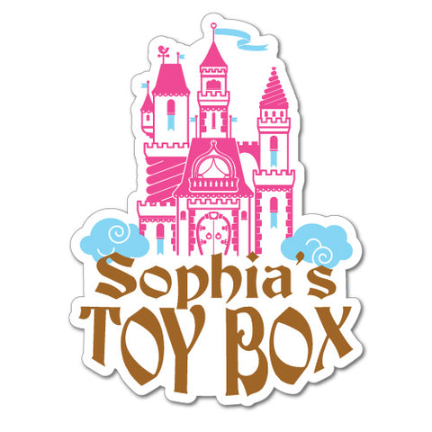 Custom Kid'S Name Toy Box Castle Sticker