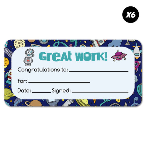 6X Reward Certificate Space School Stationery Sticker