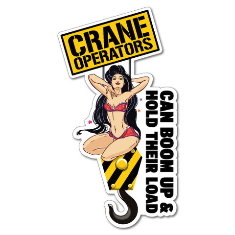 Crane Operator Can Boom Up Sexy Girl Sticker