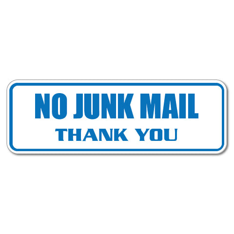 No Junk Mail Thank You Blue Sticker